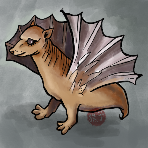 Illustration of a late 16th Century heraldic bat. It looks a little bit like a weasel with a short body and no back legs, with rather fan-shaped wings.