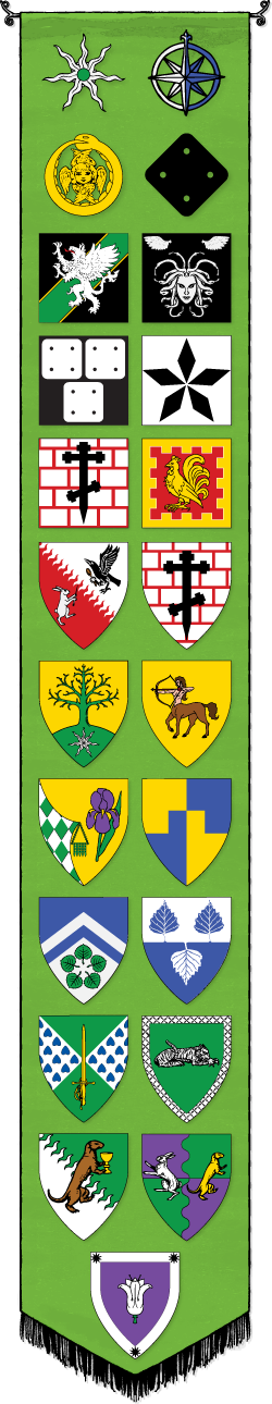 A green banner featuring a number of heraldic devices and badges.