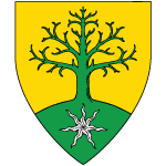 Or, a tree blasted issuant from a mount vert, the mount charged with an estoile of seven rays argent