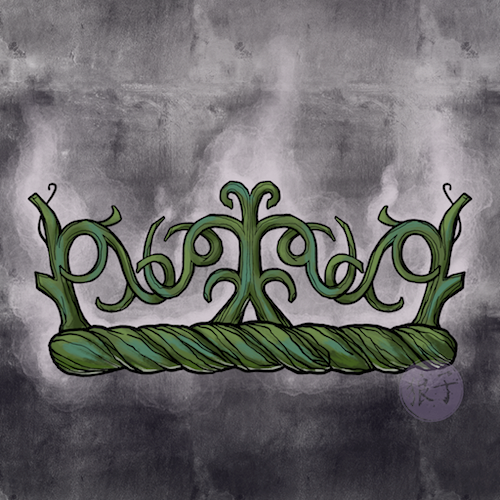 A crown, more like a wreath, made of myrtle vines and leaves.