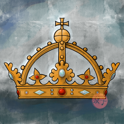 An elaborate crown made of gold, with opals and rubies on alternating oak and strawberry leaves of gold, with arches bearing golden beads and topped by a golden orb with a gold cross on top.