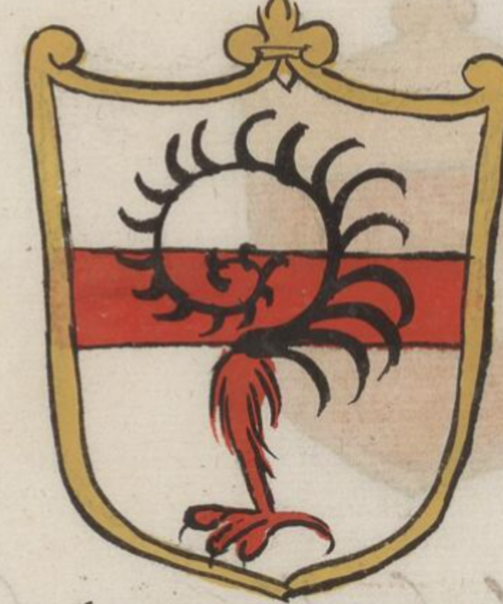 """Heraldic art from """"The Nobility of Venice"""", Cappon manuscript 131.  In a golden shield-like frame, there is a red horizontal bar across a white background.  Overlaid on this is a red bird's leg, and conjoined to this is a black spiral with feathers."""