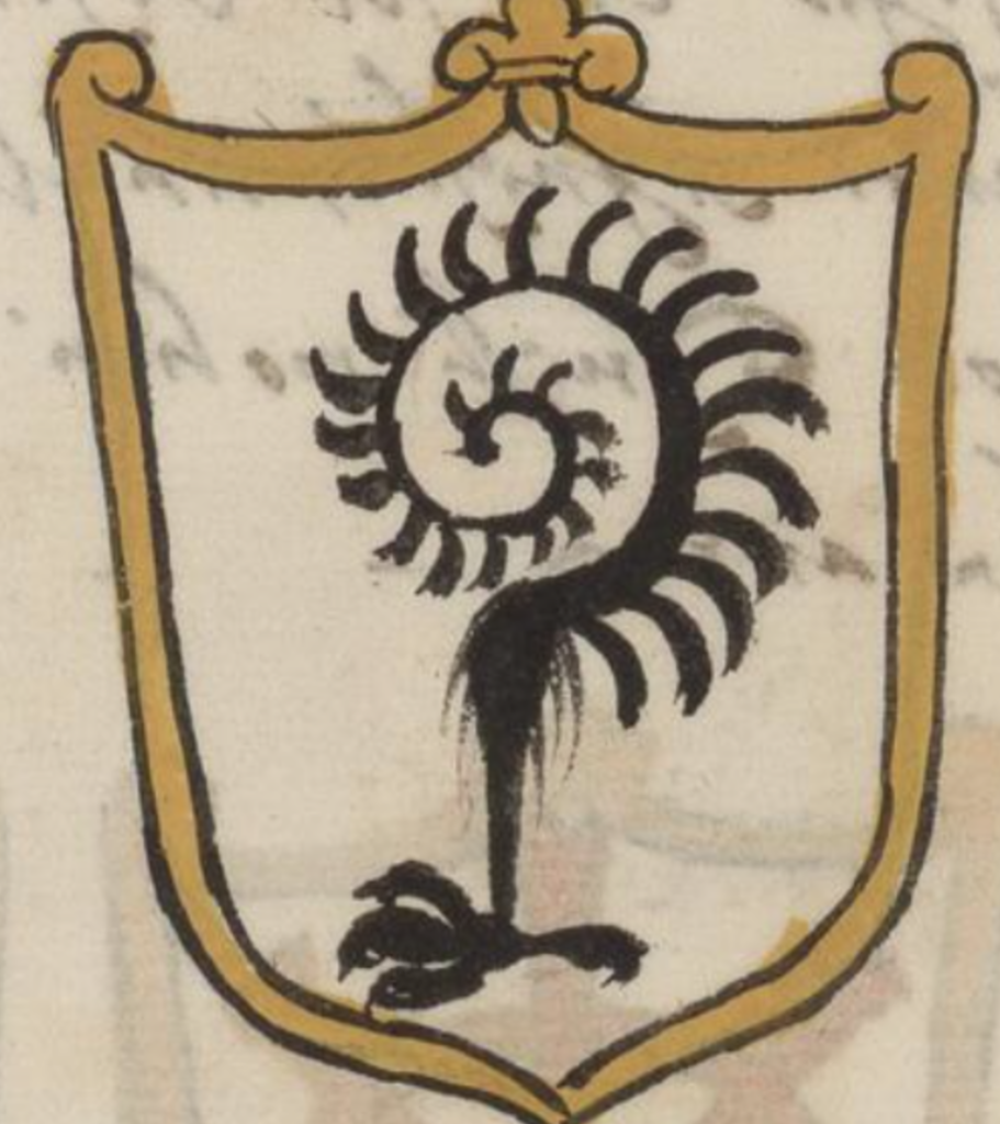 """Heraldic art from """"The Nobility of Venice"""", Cappon manuscript 131.  In a golden shield-like frame, black bird's leg, and conjoined to this is a black spiral with feathers, all on a white background."""