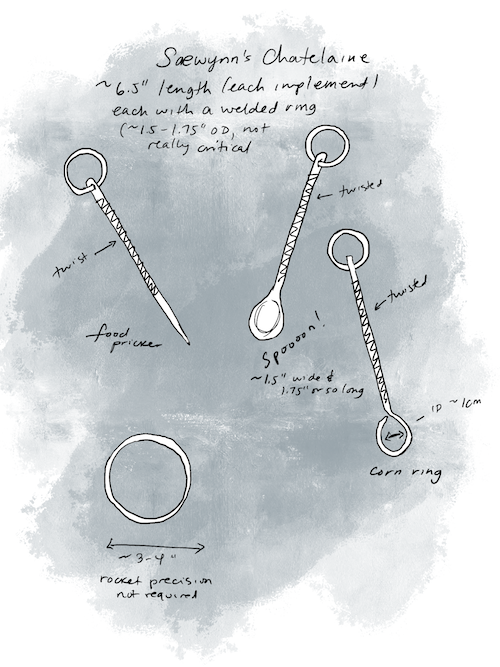 """Sketch and wash image of labeled chatelaine tools, each one on a ring: a food pricker, a spoon, a simple loop labeled """"corn ring"""", and a large 3-4"""" hanger ring."""