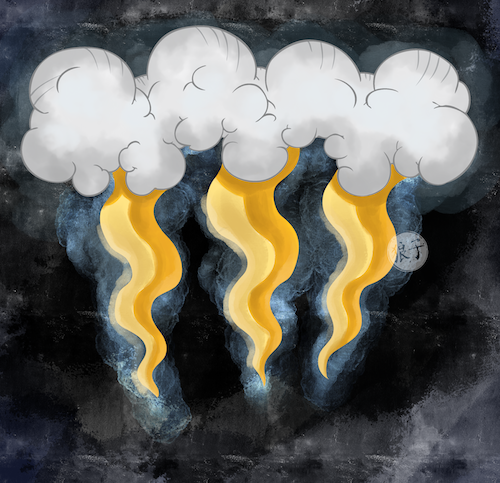 Digital painting on vector line art depicting a bank of clouds in various shades of gray.  Wavy lightning bolts in gold descend from the cloud and the image is watermarked with the artist's symbol.