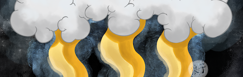 Cropped selection of an image of a bank of grey clouds with stylized golden wavy rays descending down from the clouds.