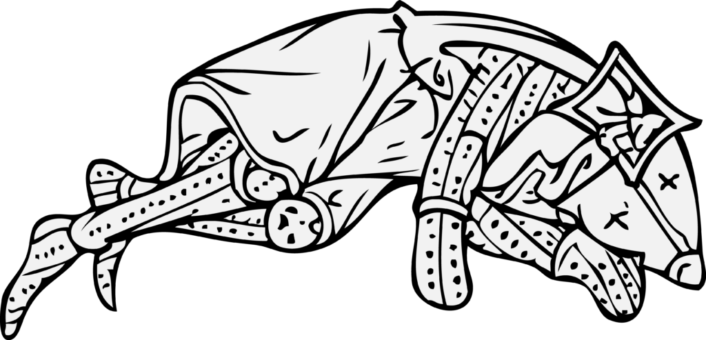 Grey and black image, in medieval illuminated style, of a dead knight lying on their side.  You can tell they're dead because the eyeholes of their helm are crosses.