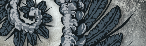 Preview of a painted, colored heraldic charge. Just visible is a spiral of grey-shaded feathers curling in on one another in a spiral.
