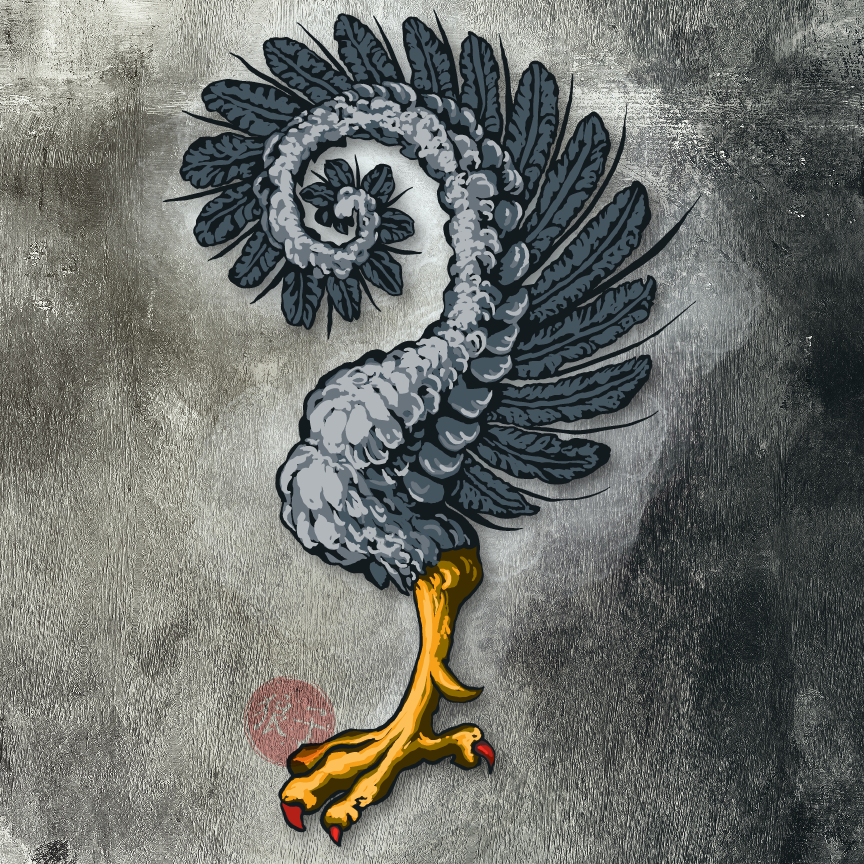 Painted, colored image of a heraldic charge: a bird's jambe (leg) attached to a wing, which is involuted (curled around in on itself in a spiral).  The feathers are shades of grey, the leg is shades of gold, and the talons are red.